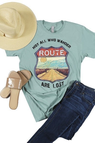 Not All Who Wander are Lost Route Graphic Tee in Multiple Colors - Sizes 4-20