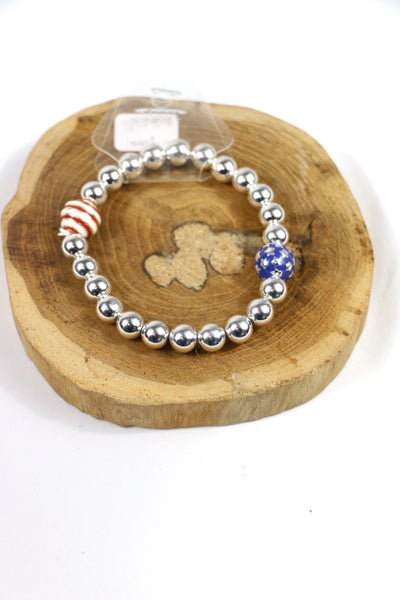 Patriot Days Silver Beaded Stretch Bracelet With Stars And Stripe Beads