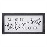 All of Me Loves All of You Linen Black Farmhouse Home Decor