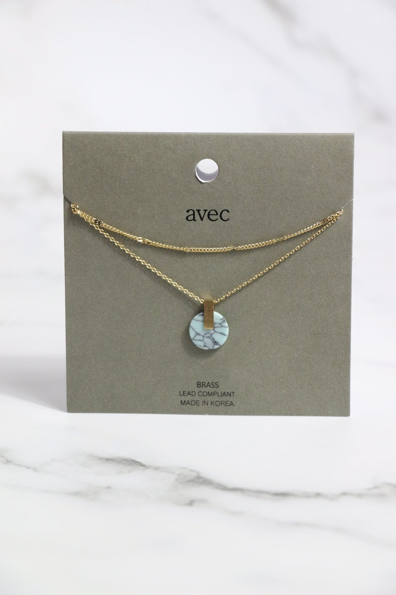 Just For You Short Gold Double Strand Necklace With Small Turquoise Circle Pendant