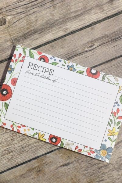 White Floral Recipe Card