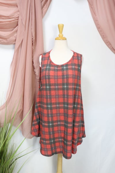 Full Of Ideas Plaid Tank Tunic in Red - Sizes 12-20