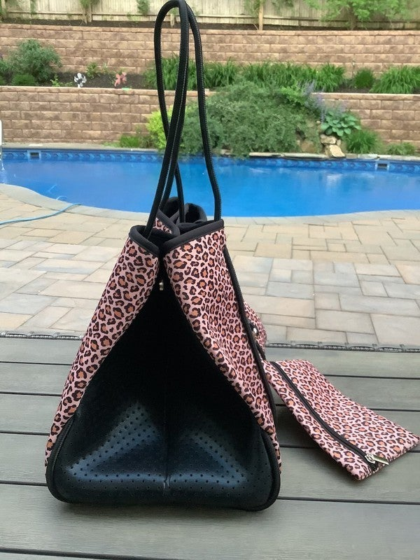Peach Leopard Neoprene Tote Bag with Matching Wallet