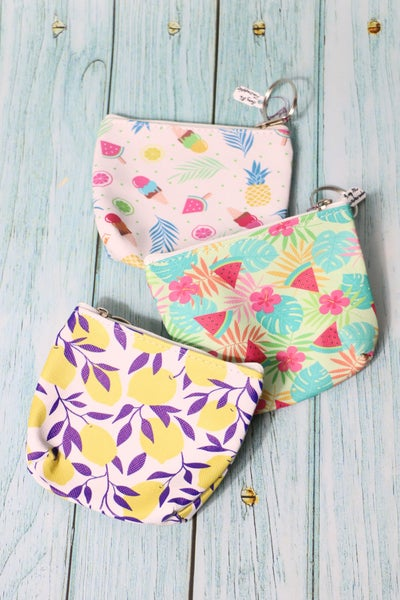 Oh So Cute Zippered Coin Purse In Multiple Prints