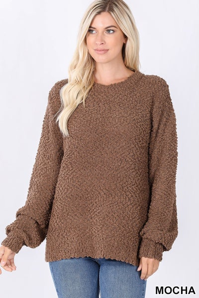 Just For You Popcorn Sweater with Balloon Sleeve in Multiple Colors - Sizes 4-