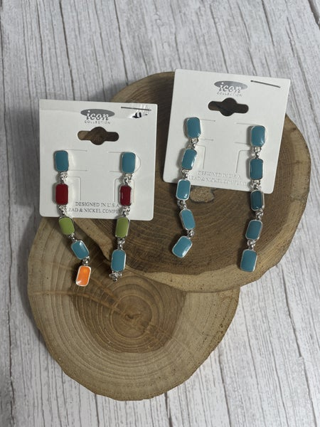 Make Your Own Way 5 Rectangle Drop Earring In Multiple Colors