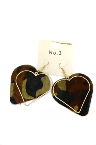 Blessings Double Heart Metal And Ponyhair Camo Earring