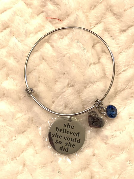 She Believed She Could Adjustable  Silver Bangle Bracelet With Charms