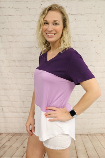 Three Times the Fun Colorblock V-Neck Tee in Multiple Colors- Sizes 4-20 ***FINAL SALE***