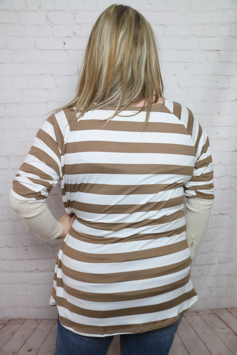 There's Still Time Striped Long Sleeve with Thumbholes in Multiple Colors - Sizes 12-20