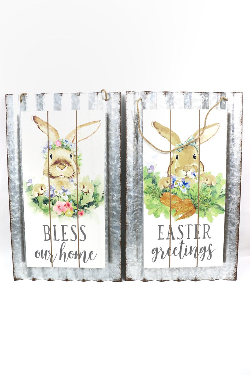Corrugated TIn And Wood Painted Bunny Wall Hangings In Multiple Sayings