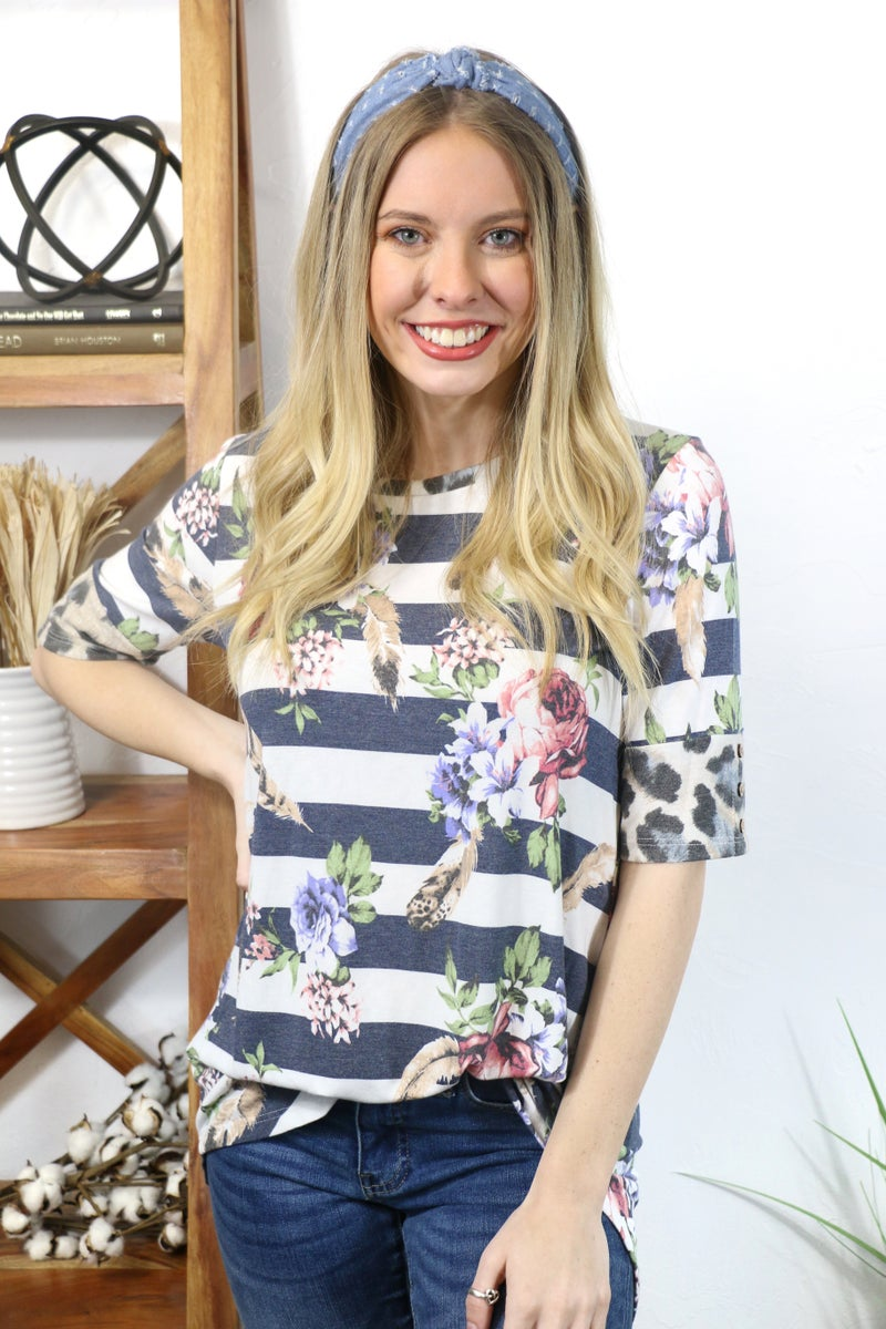 Nothing to Lose Navy and Ivory Striped Shirt with Floral Print and Leopard Accented Sleeve - Sizes 4-20
