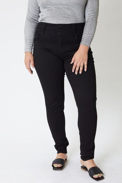 The Mariah Black Skinny Kan Can Jean with Stacked Waist - Sizes 12-20