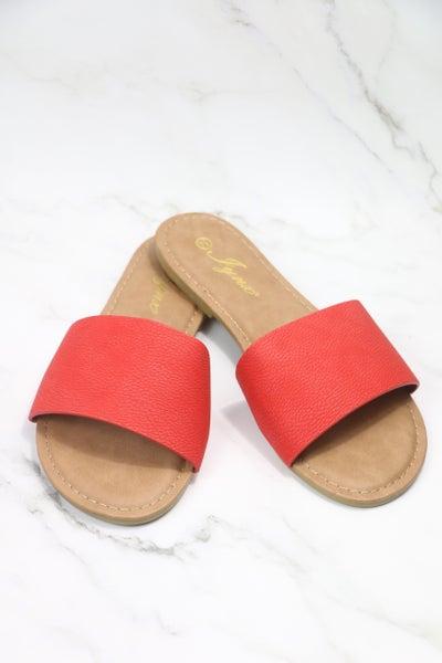 Together Forever Red Slide Sandals