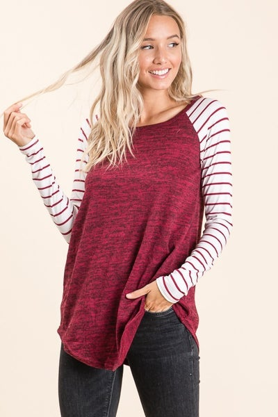I Got You Heathered Wine Raglan with Striped Accent Sleeve - Sizes 4-12
