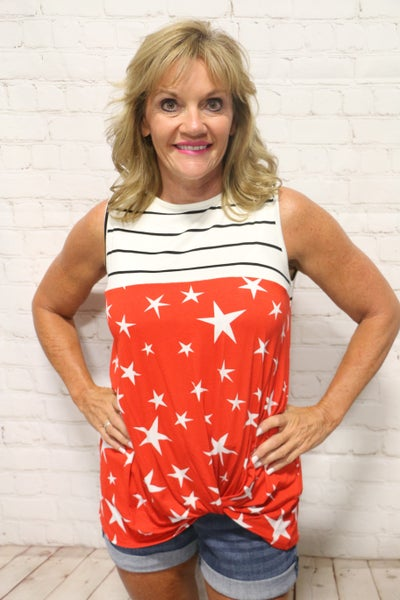 American Summer Striped Top with Red and White Starred Bottom - Sizes 4-20