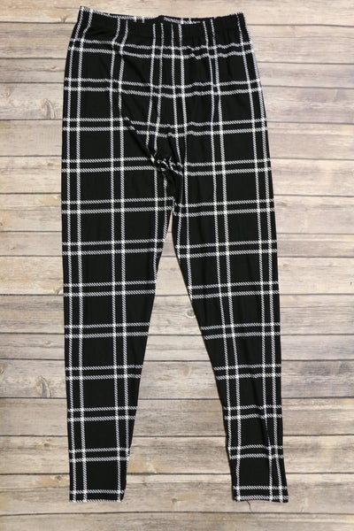 Walk The Line Black Leggings ~ One Size 4-20