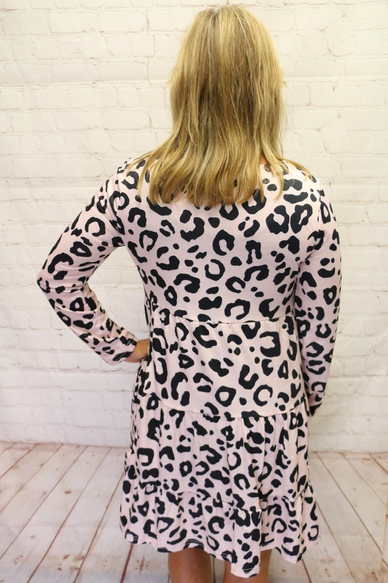 Dance with Me TieredLight Pink Leopard Dress with Accent Buttons - Sizes 4-10