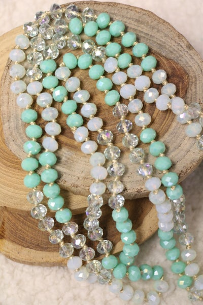 Point Of Perfection Beaded Necklace In Misty Mint
