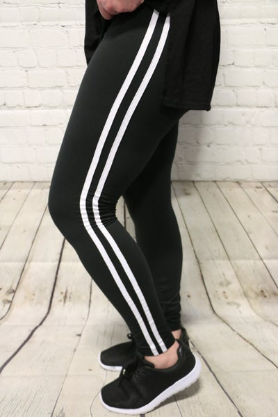Can't Steal My Joy Solid Leggings with White Stripe in Multiple Colors-Sizes-4-20