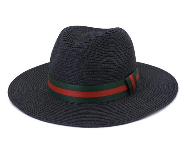 Uptown Girl Adjustable Paper Fedora With Stripe Ribbon Band In Multiple Colors
