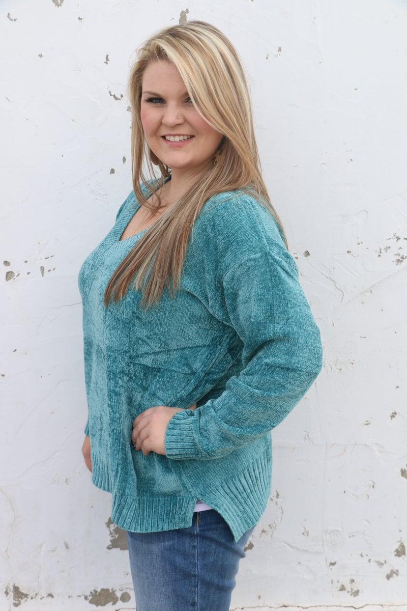 Don't Tell Them Teal High Low V-Neck Chenille Sweater - Sizes 12-20