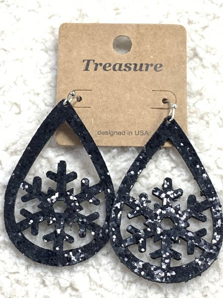 Winter Wonderland Black Glitter Teardrop Earring With Snowflake Cutout