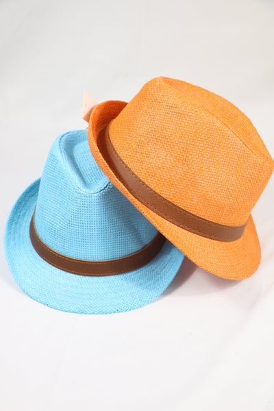 Party Time Straw Fedora With Leather Belt Trim In Multiple Colors