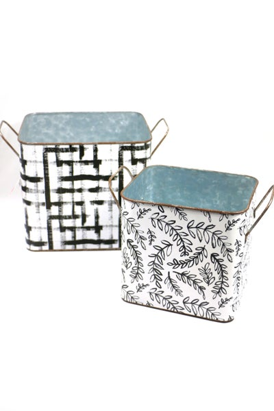 Black And White Decorative Rectangle Metal Tins With Handles