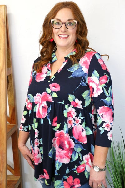 Shining Bright Navy & Fuchsia Floral Babydoll Top With Collar- Sizes 4-20