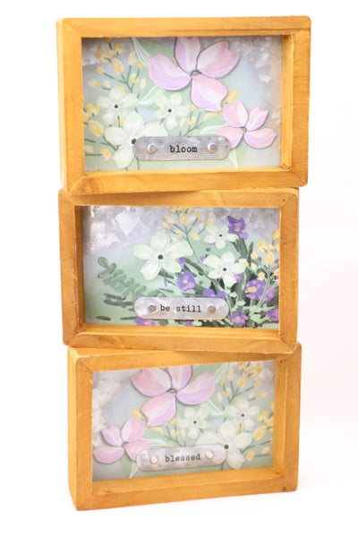 Blessed Box Frame With Floral and Metal Plate Detail In Multiple Sayings