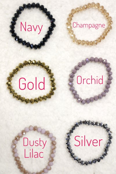 Always Faithful Diamond Cut Solid Color Bead Stretch Bracelet in Multiple Colors
