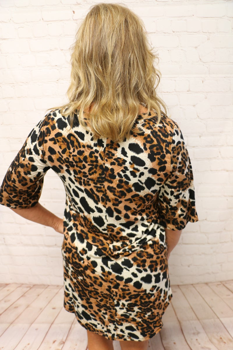 Puurfectly Comfortable Leopard V-Neck Short Sleeve Top - Sizes 4-12