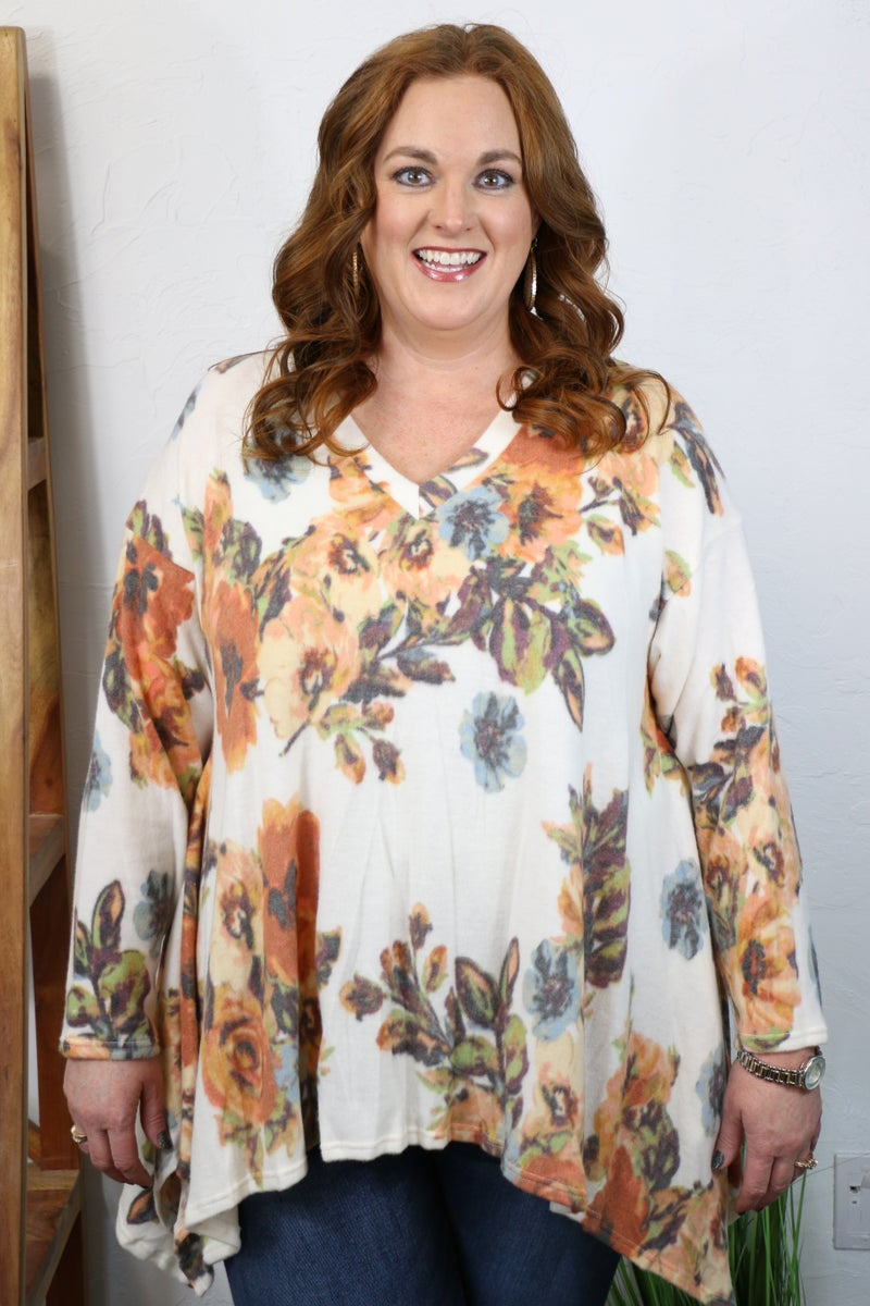 Something Lovely Ivory Fishtail Faux Cashmere Tunic with Floral Print - Sizes 12-20