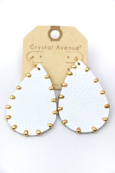 Life Of The Party Leather Teardrop With Gold Stud Earring In Multiple Colors