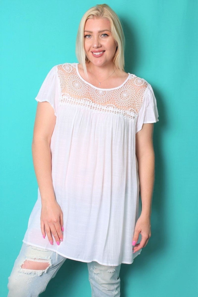Make the Sun Shine White Short Sleeve Top with Crochet Accent Neckline - Sizes 12-20