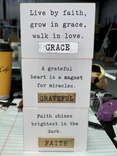 Spiritual Inspirational Message Wood Blocks