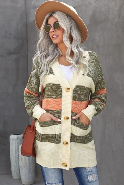 The Simplest Truth Button Down Cream and Mocha Cardigan with Front Pocket - Sizes 4-12