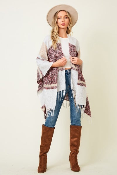 Call Me Anytime Plaid Draped Shaw with Fringe Hem in Multiple Colors - One Size Fits Most