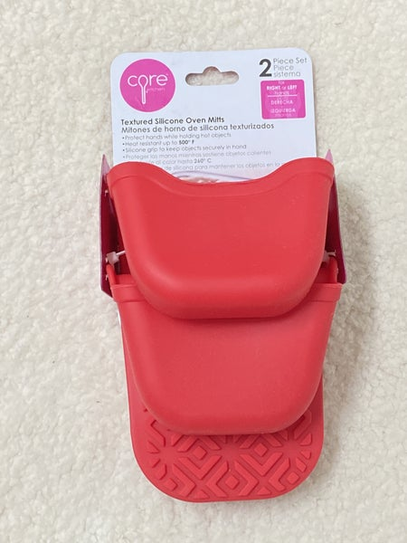 Red Textured Silicone Oven Mitts - 2 Pack