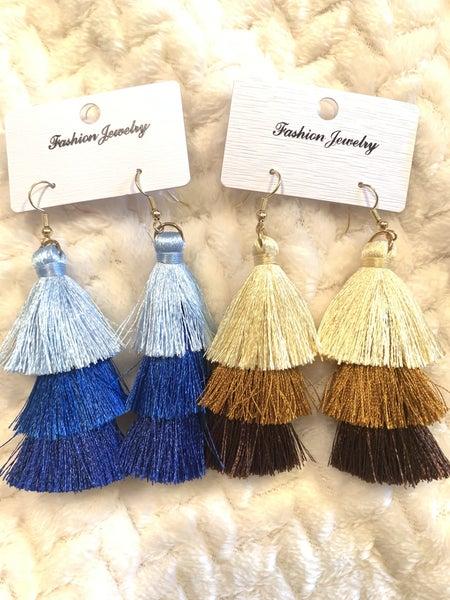 Tell Me 3 Layer Tassel Earring In Multiple Colors