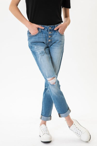 The Piper Kan Can Midrise Button Fly Distressed Medium Wash Mom Jean - Sizes 0-15