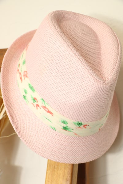 Summertime Straw Fedora With Flamingo Printed Band In Multiple Colors