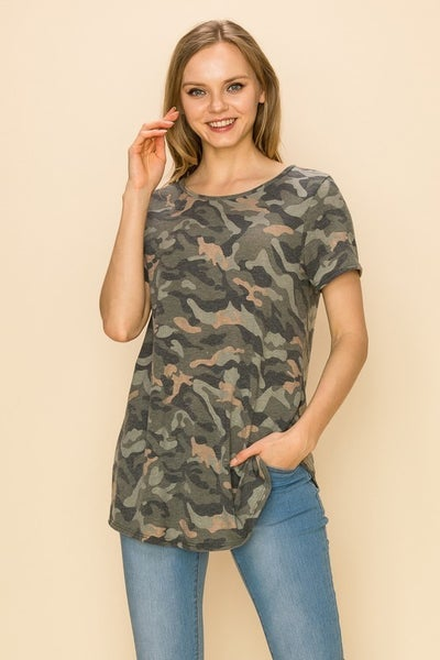 Keep It Up Super Soft Camo Round Neck Top- Sizes 4-20