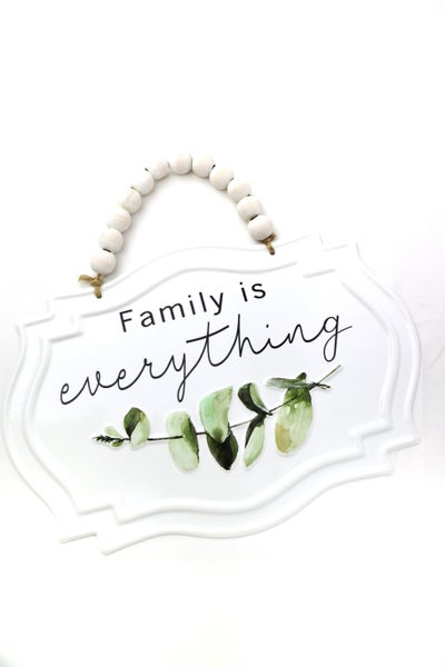 Family Is Everything Metal Wall Hanging With Wooden Bead Hanger