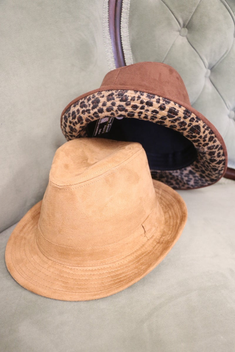 On The Prowl Suede Fedora With Leopard Inner Rim