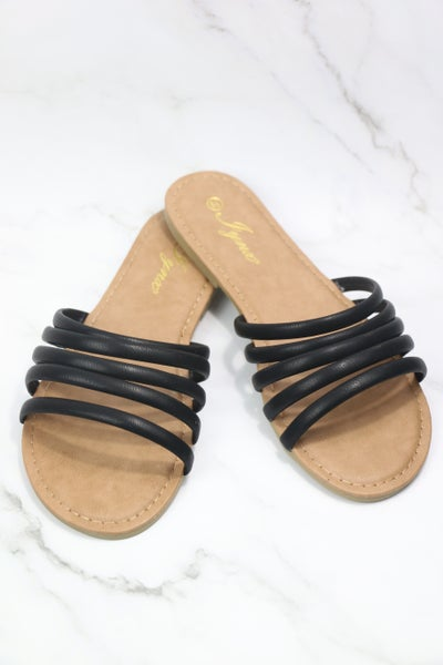 All Together Now Black Strappy Sandals