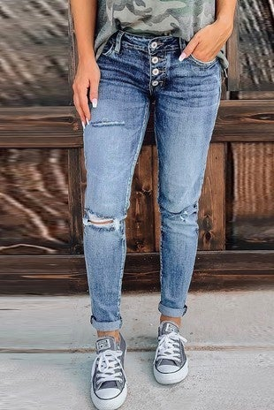 The Willow Medium Wash Distressed Button Fly Skinny Jean - Sizes 4-12