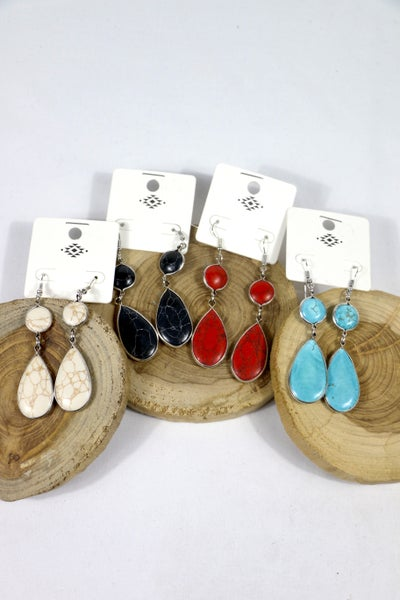 All In The Details Stone Circle And Teardrop Earrings In Multiple Colors