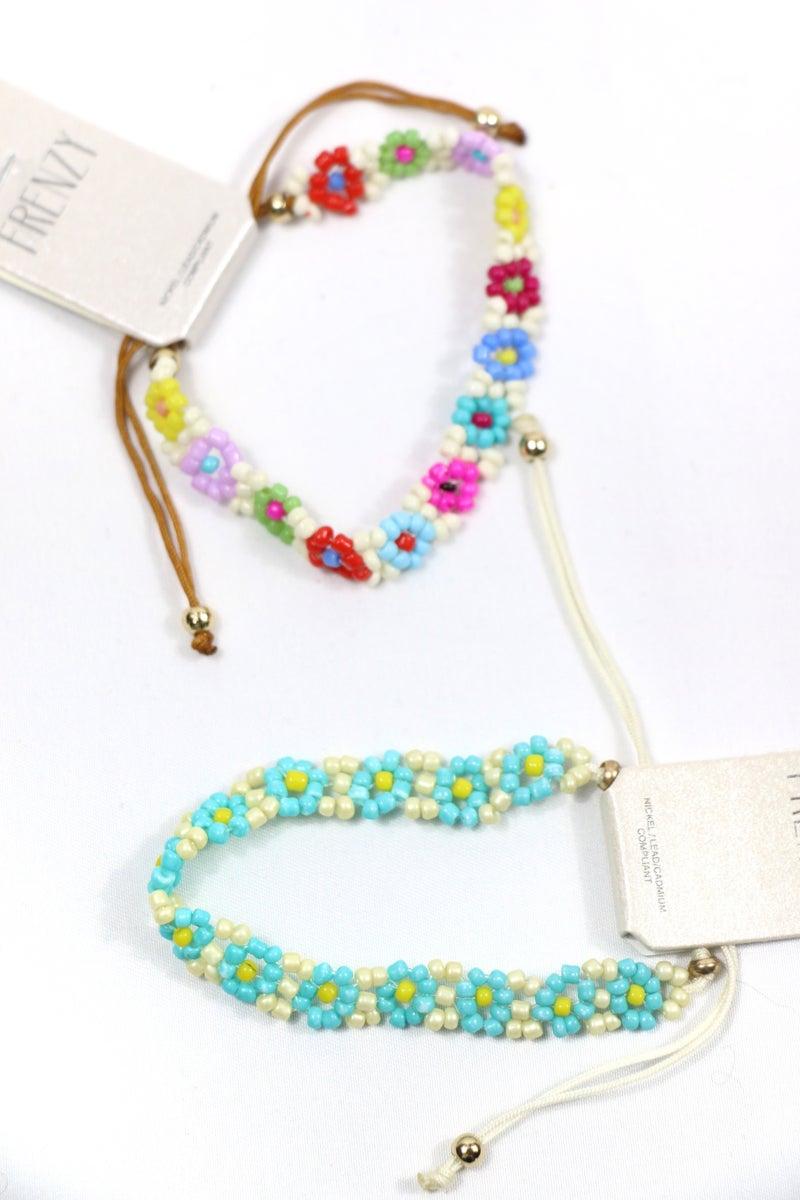 Both Of Us Seed Bead Flower Adjustable Bracelet In Multiple Colors
